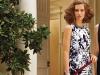 Carmen Marc Valvo's sleeveless floral-print dress with an embellished neckline.