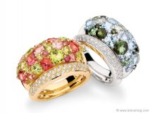 An array of diamonds and jewels makes these extravagant rings by Brumani the perfect centrepiece for any woman's hand.