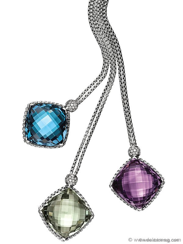 Sparkle with elegance in a sterling silver necklace from David Yurman's Cushion on Point collection.