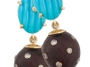 Carved turquoise, Diamonds and Amazon wood earrings by Sazingg