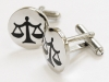 For a modern, stylish look, these rhodium-plated, purple Scales of Justice cufflinks are perfect for business or leisure.