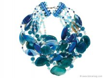 The blue agate and bead necklace from Apfel's Yoox.com line sparkles like the crystal clear Caribbean waters. Photo By Vanessa Lenz Photography