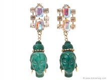 Also from her Yoox.com line, these pink rhinestone and Buddha pendant earrings are ideal for those longing to make a statement. Photo By Vanessa Lenz Photography