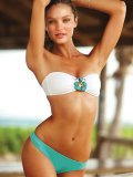 TOP-to-BOTTOM SECRET: This jewelled bathing suit with removable straps can be worn as a bandeau or halter for two fabulous looks. www.victoriassecret.com