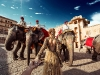 Nataly and Murad Osmann meet some elephants at Amer Fort in Jaipur, Rajasthan state, India