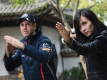 Representing Infiniti, Sebastian Vettel, current F1 double world champion, and Celina Jade practice the art of kung fu.