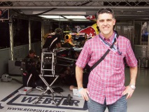 Sergio Sosa of Dolce Vita outside the Red Bull Racing garage in Shanghai for the 2012 Chinese Grand Prix.