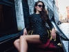 "In the floating city, anything goes. Studded leather ensembles by day and night | Gold-studded leather jacket top and miniskirt BALMAIN, Gancino sandals with gold Fiore heels FERRAGAMO, ""J'adior"" sunglasses black and gold tone DIOR"