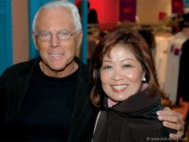 Giorgio Armani and Helen Ching-Kircher  smile for the camera.