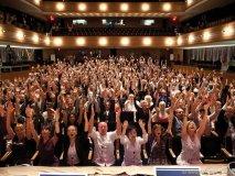 audience members group yoga