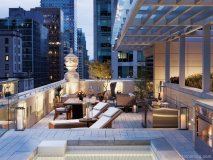 This Rosewood Hotel Georgia suite terrace captures striking views of Vancouver's downtown skyline