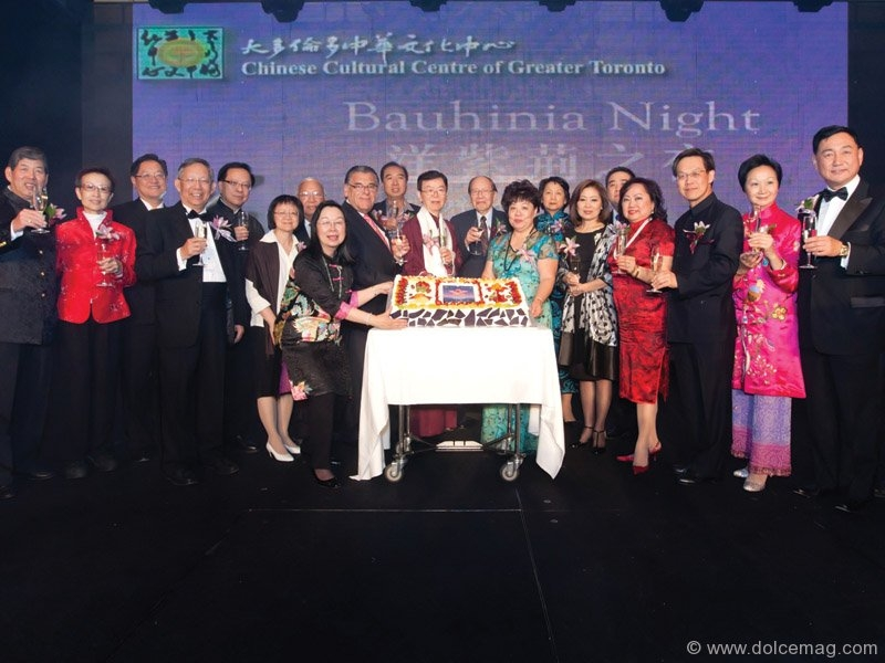 Member of the Board of Governors of the Chinese Cultural Centre Helen Ching-Kircher, joins a toast with CCC advisors and directors