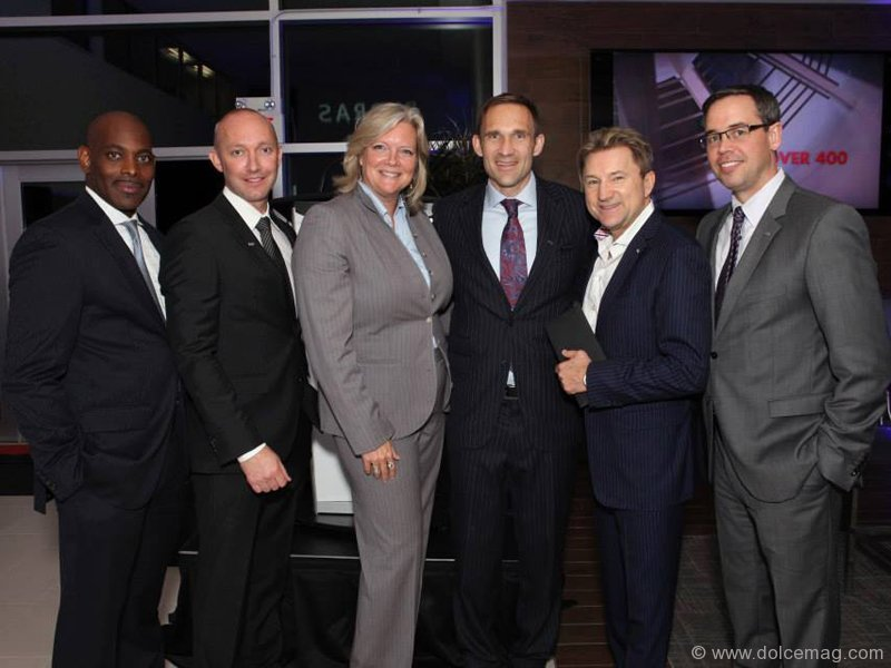 Infiniti Canada's fixed operations manager Peter Jackson; Infiniti's dealer operations manager Scott Macwilliam; Infiniti Canada's director of marketing Wendy Durward; Endras Automotive Group's vice-president Mark Endras and president Christopher Endras; Infiniti Canada's national general manager Stephen Lester