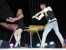 william close performing on his earth harp at the grand opening celebration