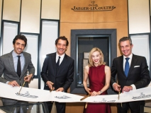 Ribbon-cutting with Jaeger-LeCoultre North America president Philippe Bonay, actor Clive Owen, actress Sarah Gadon and Jaeger-LeCoultre CEO Daniel Riedo
