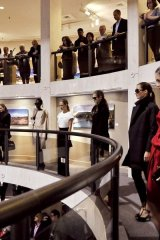 Max Mara sponsers event as guests peer down at the surprise fall fashion show