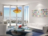 Floor-to-ceiling windows let light into Karim Rashid\'s ultra modern high-rise project, My Brickell in Miami.