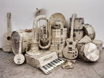 These life-sized instruments are made of sheet music and were used in Hermès window displays across England in 2009. Photography: Kyle Bean.
