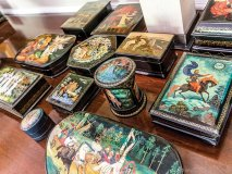 Russian lacquer boxes, mostly from the 1960s and part of an Expo 67 purchase, are one of several art forms Mogelonsky enjoys collecting