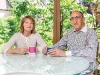 maureen and larry mogelonsky relax in the backyard their one acr -private oasis