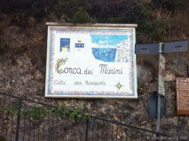 On the road into town, this plaque greets visitors to Conca dei Marini.