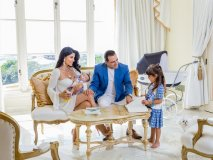 The Khoshbin Company president takes a break at home with his wife, hair care entrepreneur Leyla Milani, and their two children, Priscilla and Enzo Pasha