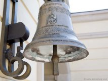 A Giacomo Bianchi piazza is adorned with heritage Italian pieces such as this church bell that chimes daily.