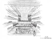 """""""You have one chance at this, you do it in about 45 minutes, you redraw it a couple of times and then time's up,"""" McKenna says of her sketchfor The Royal Conservatory's Koerner Concert Hall"""