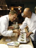 Chefs prepare oysters in the Beard House kitchen.