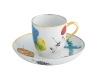 The Caribe collection pitcher, coffee cup and saucer with gold and platinum outlines