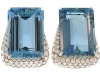 ▲ Keep things fresh  with sky-blue hues  and twinkling gems. These aquamarine diamond ear clips  bring a cool breeze  to summer ensembles.  www.jsfearnley.com