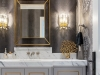 Custom vanity in matte lacquer, finished with brass inlay fretwork and gold detailing.  Designed, fabricated and installed by NIICO | Photos by Vanessa Galle