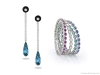 Royal de Versailles — A pair of 18k white gold diamond earrings and a bracelet of oval-cut rubies, emeralds and blue sapphires, both from Royal de Versailles Jewellers