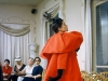 10. MARK SHAW, BALENCIAGA, ORANGE COAT SIDE, 1953: Originally published in LIFE in 1954, this Mark Shaw print shows a model posing for buyers in a coat designed by luxury fashion house Balenciaga.   Photo courtesy of 1st Dibs