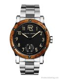 From the Ralph Lauren Sporting Collection, the RL Automotive Model juxtaposes the warmth of a rich amboyna-burl-wood bezel with a clean and cool stainless steel strap for a look that's full of character. www.ralphlauren.com