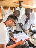 congolese msf staff and dr raghu venugopal check on patients in the democratic republic of congo