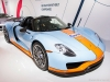 "2015 Porsche 918 Spyder display at the ""70 Years of the Porsche Sports Car"" exhibit at the Canadian International AutoShow 