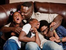 Family man Jarvis Green with his three children:  Toi, Janya and Terrence.