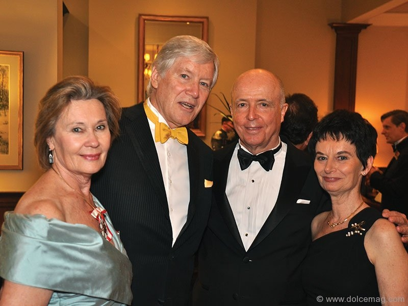 Vanessa Harwood, Canadian ballet dancer, and Robert Lawrie, director of scholarships and student administration at the University of Edinburgh, with John and Claudine Bailey