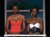 Danai Gurira and Lupita Nyong'o speak onstage during the 26th Annual Screen Actors Guild Awards at The Shrine Auditorium  Photo by Kevork Djansezian