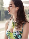 fruity frills seafolly bustier bikini top paired with fruity art deco necklace by konplott