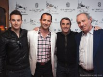 British racing driver Greg Mansell, son of Nigel Mansell; Nicholas Frankl, Nigel Mansell, former Formula 1 champion; Andrew Frankl, F1 journalist and commentator.