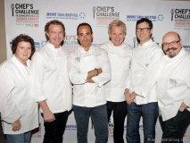 From left to right: Lynn Crawford, Mark McEwan, David Rocco, Gordon Ramsay, Jamie Kennedy and Massimo Capra.