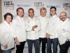 From left to right: Lynn Crawford, Mark McEwan, David Rocco, Gordon Ramsay, Jamie Kennedy and Massimo Capra.