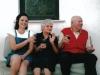 Christine Cushing enjoys good wine and good conversation with an Italian couple.