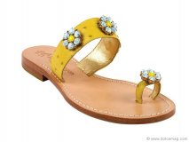 Daisy Yellow Ostrich Sandal by Phyllis Morgan