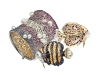 Golden oceanic themed brooches and bracelets