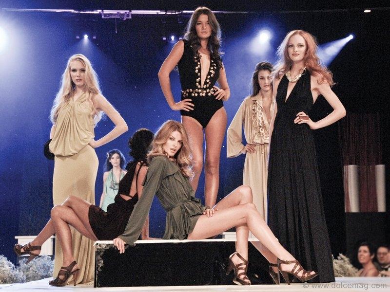Models pose in Greta Constantine designs