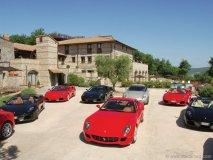 A top view of Ferrari 599 GTB Fioranos, 612 Scagliettis and F430 Spider coupes.