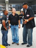 A fervent supporter of the SickKids Foundation, Jim Williams looks up to fellow advocates Jerome (JYD) Williams (former NBA player), right, and actor Alfonso Ribeiro, left, at the Rally for Kids with Cancer Scavenger Cup in 2008.